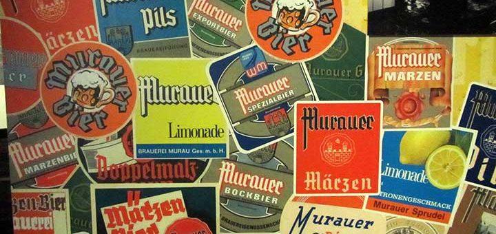 Murauer Bierdeckel im Brauereimuseum, Brauerei der Sinne